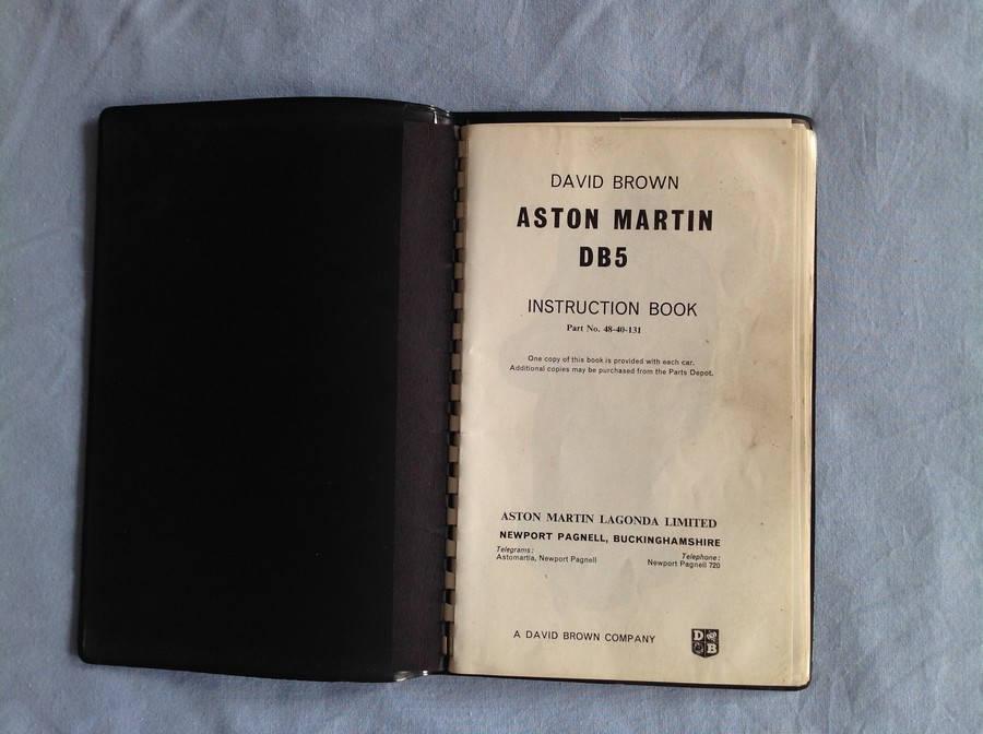 Aston Martin  Classic Aston Martin Memorabilia  Aston Martin Books Aston Martin Db5 Instruction